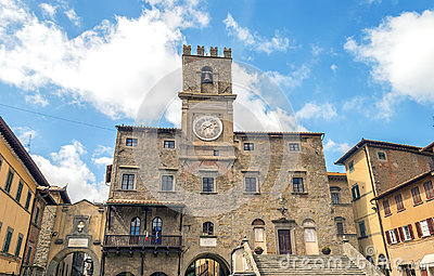 View of the town hall in the medieval city of Cortona