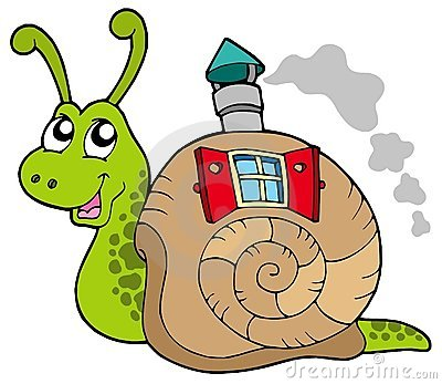 Snail with shell house