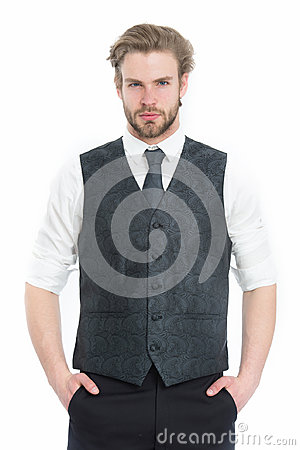 Bearded man or serious gentleman in waistcoat and tie