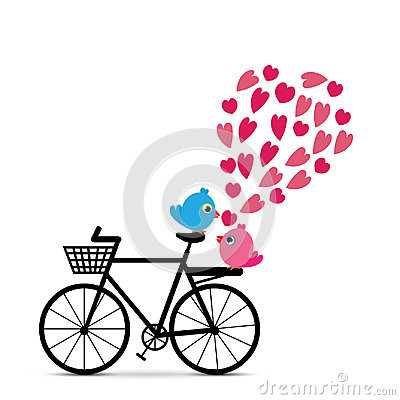 Love birds with bicycle vector