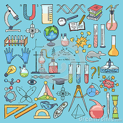 Colored items of science biology and chemical. Vector hand drawn illustrations