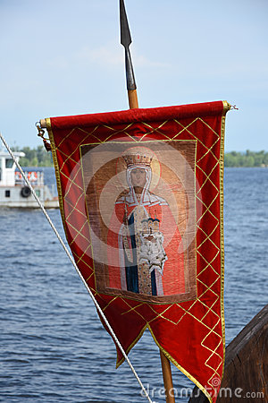 Banner of ancient Russian warriors depicting a saint - a gonfalon