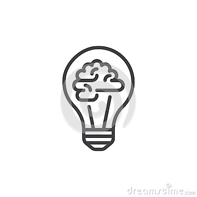 Light bulb and brain line icon, outline vector sign, linear style pictogram isolated on white.