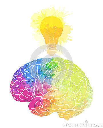 Human brain with rainbow watercolor splashes and a light bulb