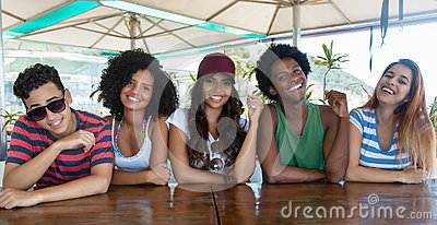 Group of happy international young adults