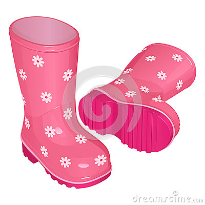 Pink children`s rubber boots for a girl, with a pattern of white flowers, on a corrugated sole, one stands, the other lies.