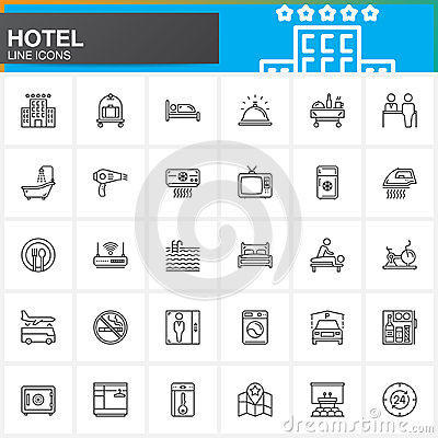 Hotel services and facilities line icons set, outline vector symbol collection, linear  pictogram pack. Signs, logo illustration.