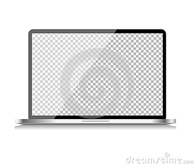 Realistic Computer Laptop with Transparent Wallpaper on Screen  on White Background. Vector Illustration