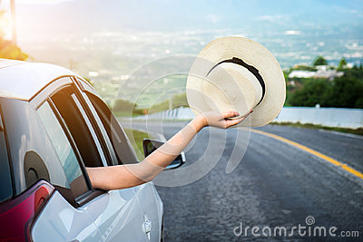 Relaxed happy traveler, Young beatiful asian gilr holding hat we