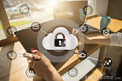 Cyber security, Data protection, information safety. technology business concept