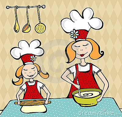 Mother and daughter cooking and having fun