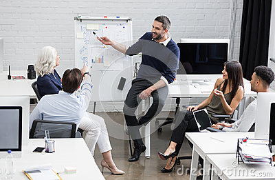Business meeting or a presentation in modern conference room