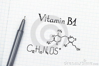 Chemical formula of Vitamin B1 with pen