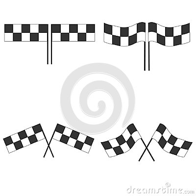 Sport flag for competition race. Black and white checkered auto racing flags