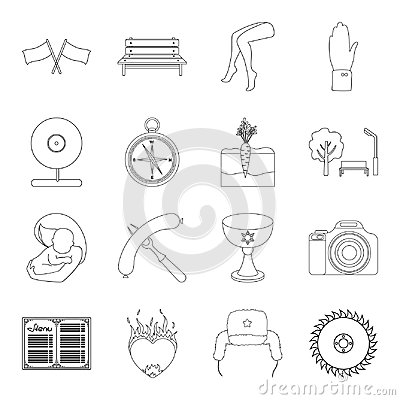 Cooking, travel, medicine and other web icon in outline style.love, tradition, rest icons in set collection.