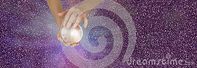 Fortune Teller holding crystal ball on sparkling banner