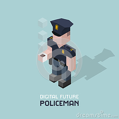 Policeman with coffee. Cubes composition isometric vector illustration of police officer. Cop with cup of coffee