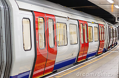 London underground train carriage waiting to depart