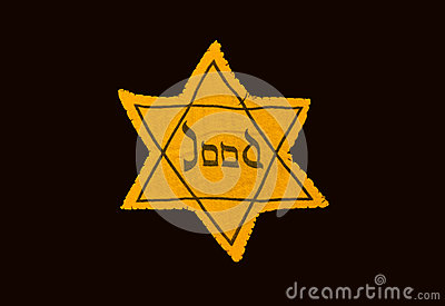 Yellow and black star which the Jews were required to wear in oc