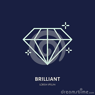 Shining brilliant illustration. Diamond jewelry flat line icon, gem stone store logo. Jewels luxury accessories sign