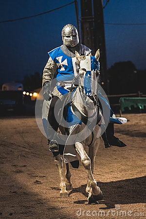 Knight riding horse Medieval festival in Elvas, Portugal.