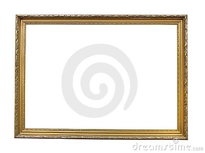 Old antique gold plated wooden picture frame