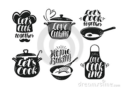 Cooking, cookery, cuisine label set. Cook, chef, kitchen utensils icon or logo. Handwritten lettering, calligraphy