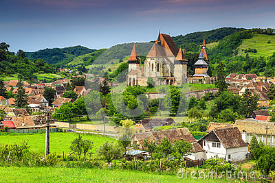 Famous Transylvanian touristic village with saxon fortified church, Biertan, Romania