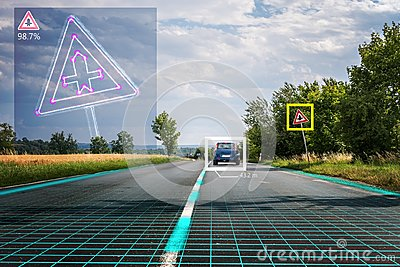 Autonomous self-driving car is recognizing road signs. Computer vision and artificial intelligence concept