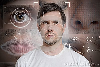 Face detection and recognition of man. Computer vision and machine learning concept