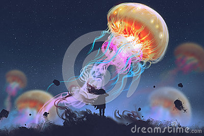 Girl looking at giant jellyfish floating in the sky