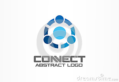 Abstract logo for business company. Technology, Social Media Logotype idea. People connect, Circle, segment, section