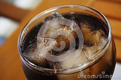 glass of coca cola with ice