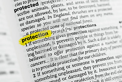 Highlighted English word `protection` and its definition at the dictionary