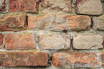 Old red bricks wall close-up