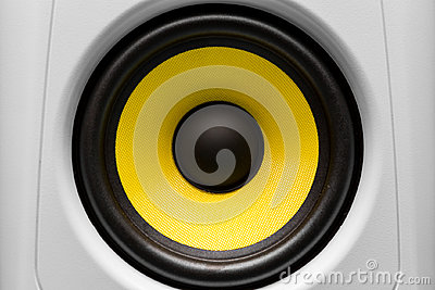 Yellow and black audio speaker