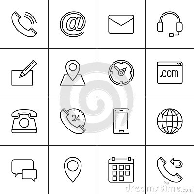 Contact line icons set, outline vector symbol collection, linear pictogram pack. Signs, logo illustration.