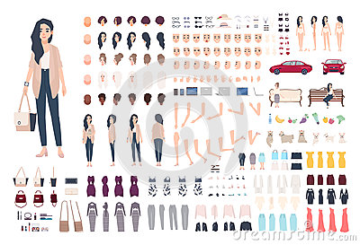 Young lady character constructor. Trendy girl creation set. Different woman postures, hairstyle, face, legs, hands
