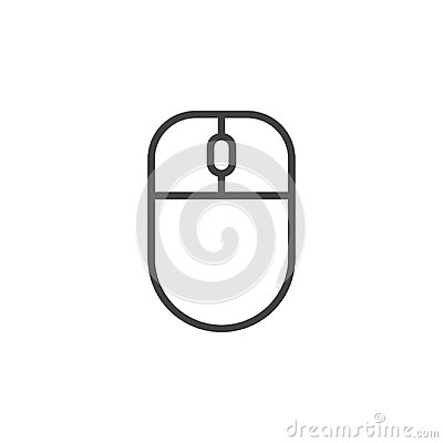 Computer mouse line icon, outline vector sign, linear style pictogram isolated on white.
