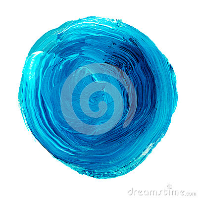 Acrylic circle isolated on white background. Bright blue round watercolor shape for text. Element for different design