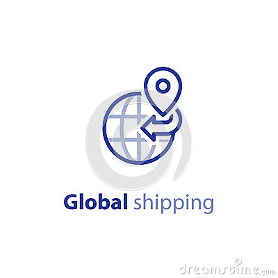 Shipping globally, international shipment concept, delivery line icon
