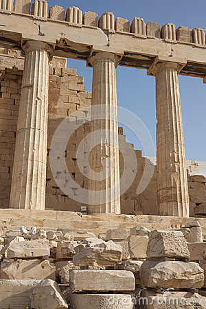Three columns from the side of the Parthenon