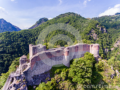 Poenari fortress near Arefu. Vlad the Impaler Castle in Transylvania