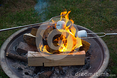 Smores roasting over open fire