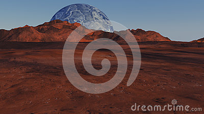 Red planet and distant planet