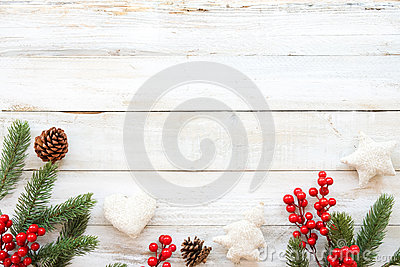 Christmas theme background with decorating elements and ornament rustic on white wood table