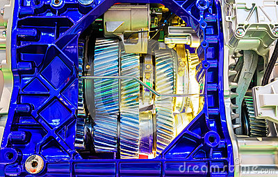 Gear inside the internal combustion engine of car closeup