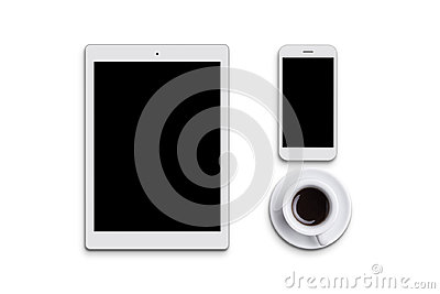Modern white tablet, cell phone and cup of coffee isolated over white background. Electronic devices. Desktop. Flat view of gadget