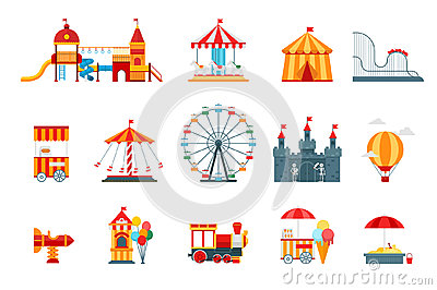 Amusement park vector flat elements, fun icons,  on white background with ferris wheel, castle, attractions
