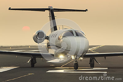 Private business jet on the runway